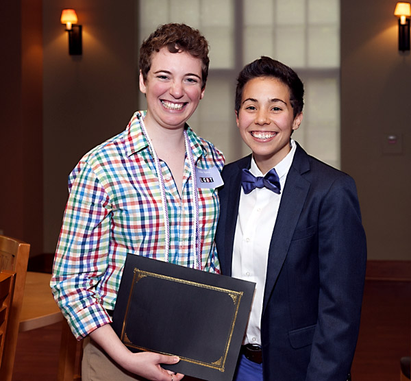 Awardee Ellie Spritz poses for a picture with Christine Dolan,  Coordinator of LGBT Student Involvement and Leadership at Washington University Lavender Recogniton Ceremony